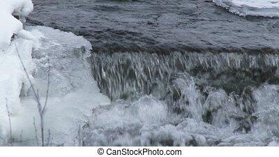 Stream of water in winter