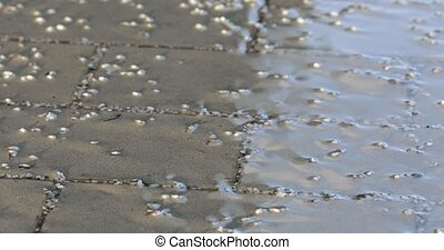 Stream on the tile and the residue of the reagent - On the...