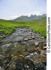 Stream running along mountain top