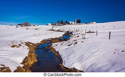 Stream through a snow covered farm field in rural Lancaster...
