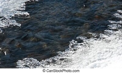 stream water winter ice - The water flow in the river is not...