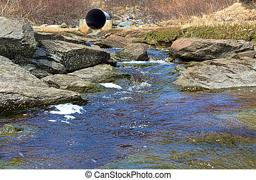 Stream with distant culvert - A stream surrounded by...