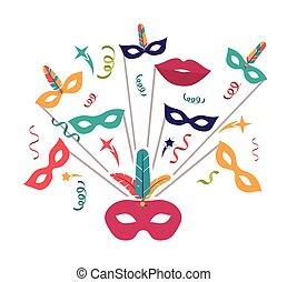 streamer mask feather carnival design