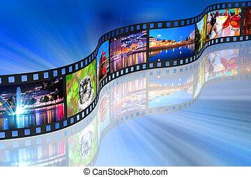 streaming, conceito, mídia