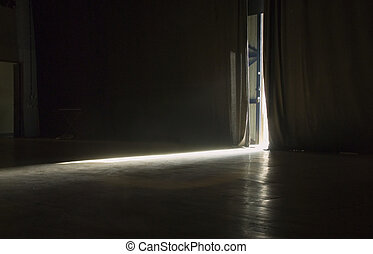 Light streaming into a stage