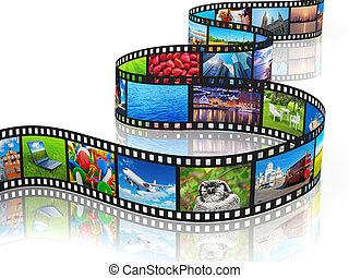 Streaming media concept: filmstrip with colorful photos ...