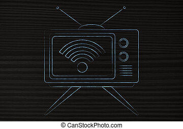 television with wi-fi symbol on screen