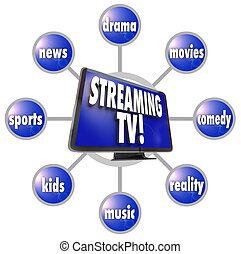Streaming TV Content Entertainment Programs Movies Sports...