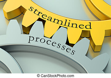 streamlined processes concept on the gearwheels