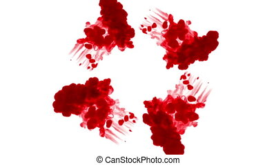 streams of dark red ink form a circle, on a white background. view from above. as an alpha channel use luma matte 2