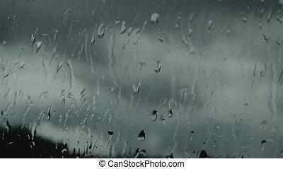 Streams of rain on the glass