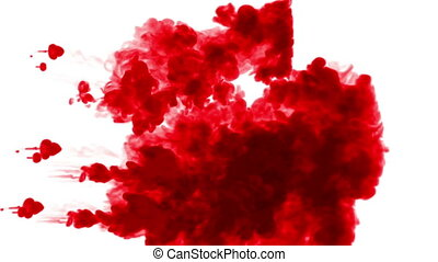 streams of red ink on white background. as an alpha channel use luma matte