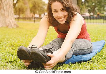 streching, 腿, 婦女, 運動, 肖像