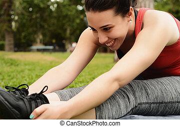 streching, 足, 女, スポーツ, 肖像画