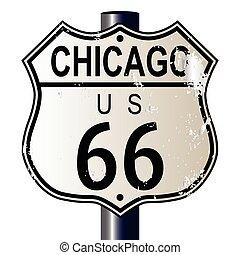 strecke, chicago, 66, landstraße zeichen
