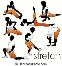 strecken, silhouetten, satz, aerobik