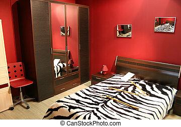 streep, rood, slaapkamer