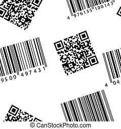 streepjescode, en, qr-code., seamless, vector, wallpaper.