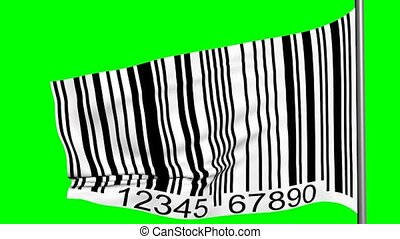 streepjescode, op, een, vlag, 3d animatie