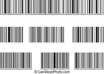 streepjescode, set., verzameling, lijnen, getallen, vector, black , tekens