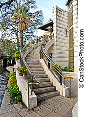 Street Access from the Riverwalk in San Antonio, Texas