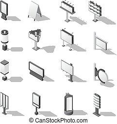 Street Advertising Isometric Icons Set - Street Advertising...