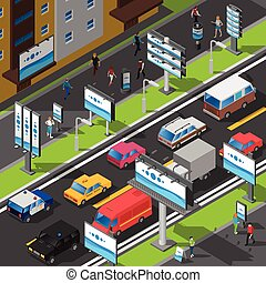 Street Advertising Isometric Illustration