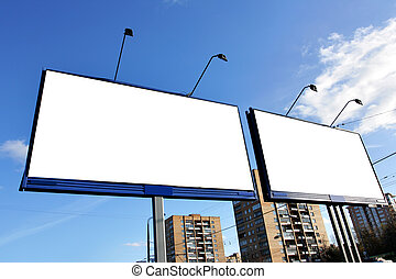 Street advertising - Two blank billboards on a street close...