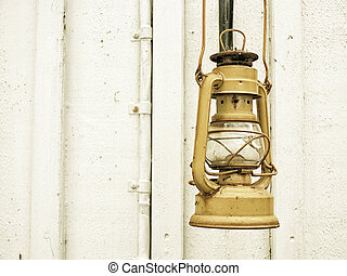 Street aged vintage kerosene oil lamp outdoor