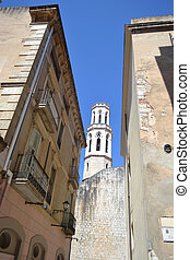 Street and Church of St. Peter in Figueres.