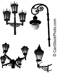 Street and garden old style lamps. Vector illustration