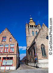 Street and the Jerusalem church at the historical town of Bruges