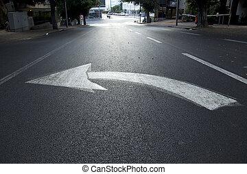 Street Arrow Left - Directional arrow pointing left on an...