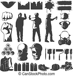 Street Art Black White Icons Set