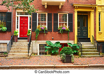 Street at Beacon Hill neighborhood, Boston - Street at...