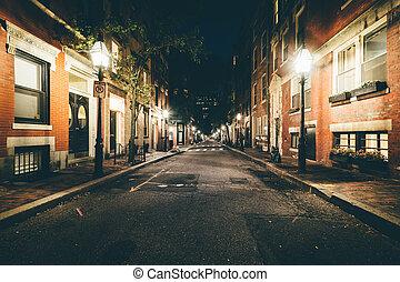 Street at night, in Beacon Hill, Boston, Massachusetts.