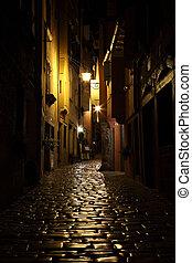 Street at night in the old town of Rovinj, Croatia