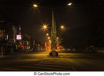 Street at night.