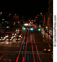 Street at Night - time lapse city street scene at night