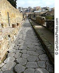 Street at the ancient Roman city of Herculaneum, Italy