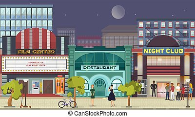 Street at urban night, people lifestyle vector illustration. Man woman character at building background,town road and cityscape.