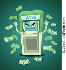 Street ATM teller. Vector flat illustration