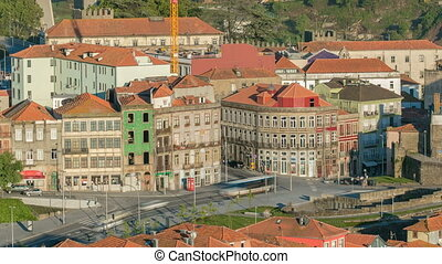 Street Avenida Dom Afonso Henriques -  view from Clerigos Tower in Porto timelapse, Portugal
