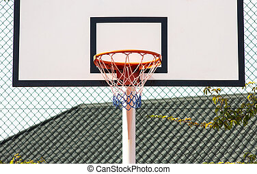 Street basketball. Basketball Hoop close-up, healthy lifestyle concept