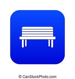 Street bench icon digital blue