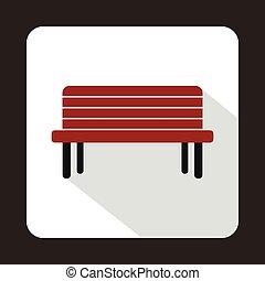 Street bench icon, flat style