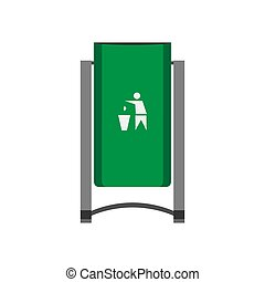 Street bin green vector front view icon. Disposal ecology junk refuse concept. Industry trash garbage