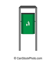 Street bin green vector side view icon. Disposal ecology junk refuse concept. Industry trash garbage