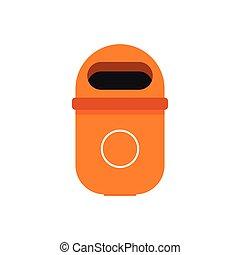 Street bin icon, flat style