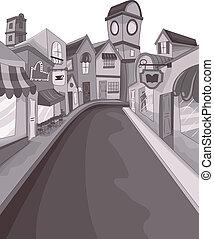Street Buildings - Illustration of an Empty Street...